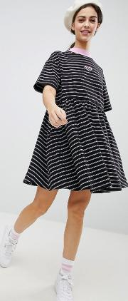 oversized smock dress in stripe