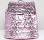 pink metallic quilted heart backpack