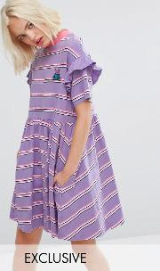 short sleeve smock dress in stripe