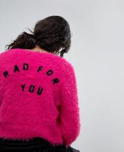 Shrunken Cardigan In Fluffy Knit With Bad For You Back