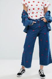 wide leg denim love jeans with all over hearts co ord