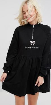 zip up sweat dress with nobody cares  detail