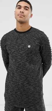 Ribbed Arm Crew Neck Sweatshirt