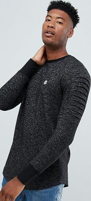 tall crew neck sweater with arm ribbed