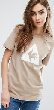 Exclusive To Asos Flocked Logo  Shirt In Camel
