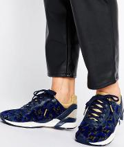 navy floral print pony hair  xvi trainers