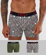 2 Pack Houndstooth Print Trunks