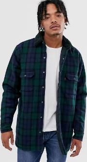 Borg Lined Wool Check Worker Jacket Backhousia Mineral Black