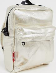 Metallic Mini Backpack With Red Tab