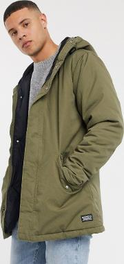 Thermore Padded Check Lined Parka Olive Night