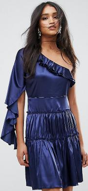 frill one shoulder tiered mini dress