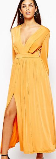 70's Plunge Neck Maxi Dress With Double Splits