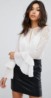 Blouse With Ruffle Sleeve And Lace Shoulders