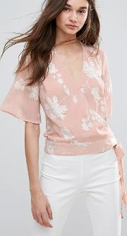embroided wrap front blouse
