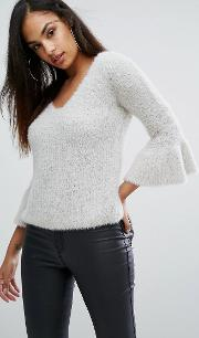 Eyelash Frill Sleeve Jumper
