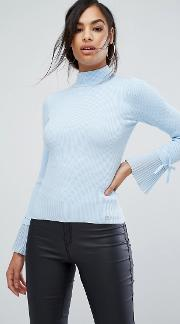 High Neck Pleated Sleeve Jumper