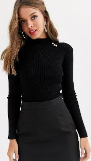 Knitted Jumper With Gold Button Detail