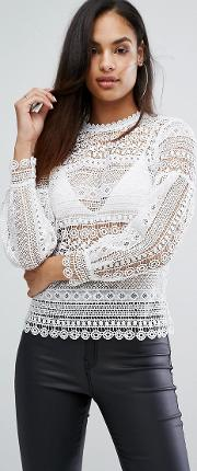 michelle keegan loves lace top with blouson sleeve