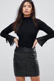Pleated Sleeve Roll Neck Jumper