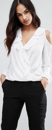 Wrap Front Ruffle Blouse With Cold Shoulder