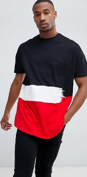 liquour n poker t shirt with taping  black