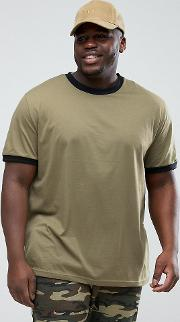 plus ringer t shirt with green