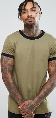 Ringer T Shirt With Green