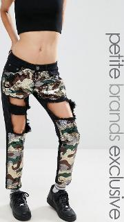 extreme rip skinny jean with sequin inserts