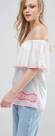 bardot top with embroidery