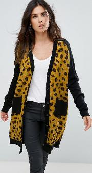 button up cardigan with patch pockets in leopard