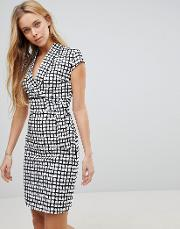 cap sleeve check dress with  ring and attached belt
