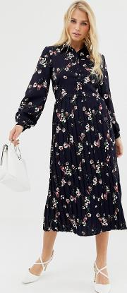 Floral Mid Shirt Dress With Pleated Skirt