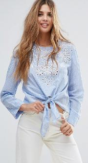 knot front stripped embroidered top