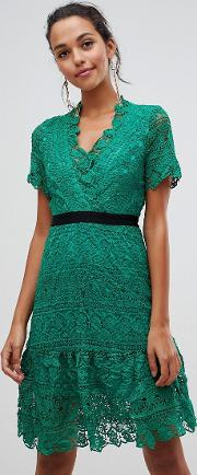 Lace Dress With Contrast Waistband