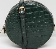 mock croc efffect round across body bag with chain strap