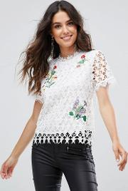 star lace white floral embroidered top