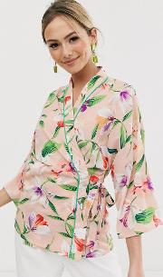 Wrap Blouse With Contrast Piping Floral