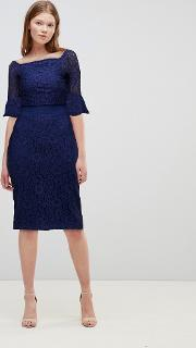 All Over Lace Bardot Midi Dress With Fluted Sleeve Detail