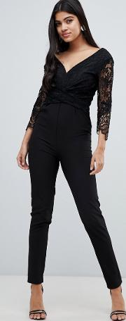 Lace Sleeve Fitted Jumpsuit