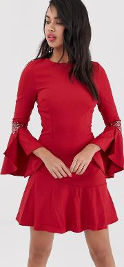 Long Flute Sleeve Dress