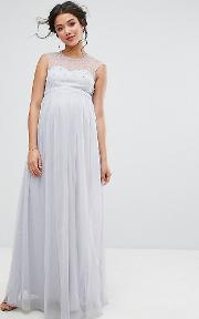 Maxi Dress With Pearl Embellished Bodice