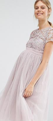Short Sleeve Lace Bodice Mini Dress With Tulle Skirt