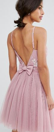 Embellished Top Mini Tulle Prom Dress With Bow Back Detail