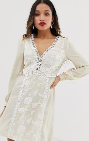 Embroidered Mini Smock Dress