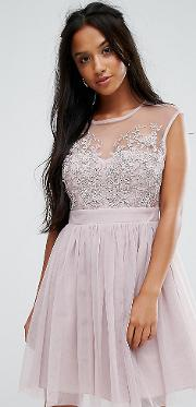 Lace Applique Top Mini Tulle Prom Dress