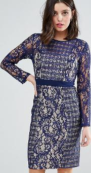 Long Sleeve Contrast Lace Shift Dress