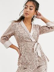 Tailored Sequin Wrap Blazer Rose Co Ord