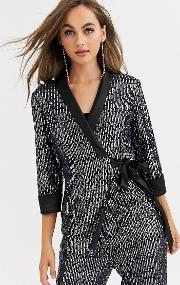 Tailored Sequin Wrap Blazer Co Ord