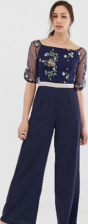 Embroidered Top Wide Leg Jumpsuit