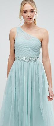 Full Prom Tulle One Shoulder Midi Dress With Lace Applique